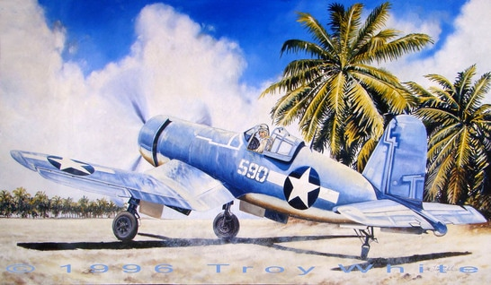 Captain Roger Conant of VMF-215 in his F4U Corsair